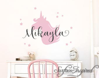 Nursery Wall Decals. Personalized names wall decal with unicorn for girls rooms. Personalized unicorn wall decal made in any colors