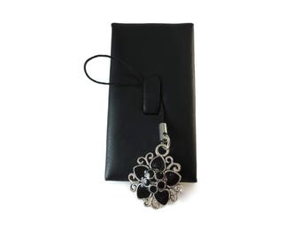 Grey and Black Flower Purse Charm, Ladies Black Enamel and Silver Metal Zipper Pull Charm, Flower Backpack Charm For Women