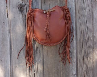 Soft leather tote , Mahogany brown leather handbag with fringe , Ready to ship