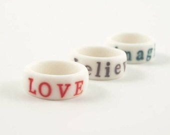 Personalised white engraved stamped porcelain ring with bright colorful glazed  letters ,numbers,dates,initials, customize jewelry