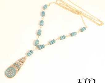 Turquoise, Gold and Bronze Necklace