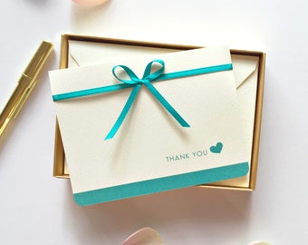 Teal Wedding Thank You Cards - Teal Blue - Bridal Party Thank You Notes - Thank you Bridesmaid - Boxed Thank You Notes - Set 12 Cards