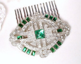 Hair Comb OR Sash Brooch Original 1930s Emerald, Antique Art Deco Dark Green Rhinestone Pave Crystal Gatsby Bridal Dress Sash/OOAK HairPiece