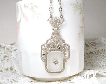 ANTIQUE 1910 DIAMOND Art Nouveau Camphor Glass Necklace,Art Deco STERLING Silver Rhinestone Bridal Pendant,Downton Edwardian Vintage Wedding