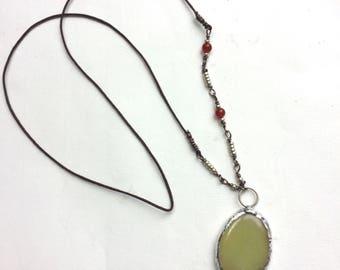 Healing Crystal Gem Necklace with Lemon Jade / Serpentine Pendant