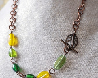 Green and Yellow Glass Bead Leaf Necklace