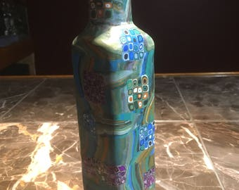 Tall Rectangular Bottle, Covered with Retro Polymer Clay Cane