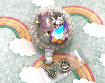 Bling Rhinestone Gemstone Glam Girl Fairy Kei Lolita Badge Reel Retractable Work ID Holder Nurse CNA RN Technician CPhT Assistant Ma Md