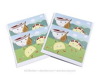 4 Pack of Cards- Ukrainian Bandura (Borscht Beet Soup) & Dancing Perogies (Perohy, Varenyky) Blank Greeting Card - Illustration by A.Bamber
