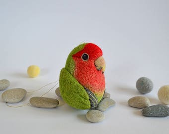 RESERVED for Shannon - Lovebird ornament - custom made needle felted wool decor / home decoration