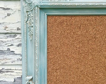 "LARGE FRAMED CORKBOARD Large Cork Board 44""x32"" Baroque Teal Green Wedding Seating Chart Framed Cork board French Provincial Furniture"