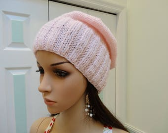 PINK WINTER HAT, 4 inch ribbed forehead ,hand knitted, slouchy style, worsted weight baby soft  yarn,