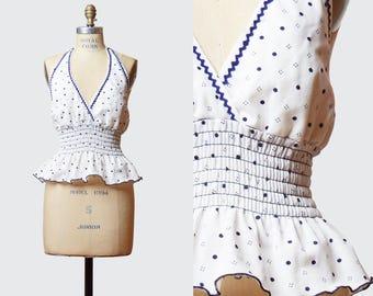 Vintage 70s Halter Top Boho Polka Dot Deep V Neck / 70s Hippie Backless Shirt High Waist Bohemian Neck White Blue Small Medium