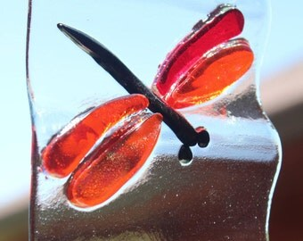 Orange and Red Dragonfly Wind chime in Fused Glass