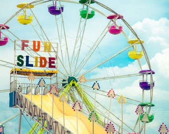 Carnival Photo, Carnival Art, Ferris Wheel, Modern Wall Print, Shabby Chic Decor, Colorful Art, Home Decor, Nursery Decor, Childrens Room