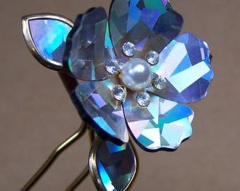 Vintage Japanese Kanzashi hair pin Geisha flower rhinestone mirror glass hair pick hair fork hair accessory hair ornament (AAN)