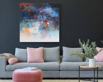 """Navy and Blush abstract painting, original oil on canvas 10""""x10"""" abstract print canvas or paper up to 48""""x48"""" large square wall canvas"""