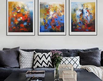 set of tree abstract painting, triptych art, trendy modern artwork, pink and navy art, abstract art prints, contemporary home, modern art