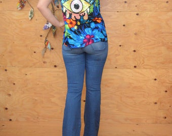 Vintage 80's Tropical Safari Hawaiian Upsycled Blouse In Blue & Green Floral Print Unique Sequin Teary Eye Appliqué In Back S/M