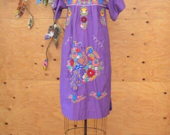 Vintage 70's Ethnic Purple  & Rainbow Embroidered Floral Dress Sz S/M