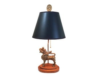 Asian Solid Brass Foo Dog Lamp with Black Paper Shade Hollywood Regency Chinoiserie RESERVE Christinasims