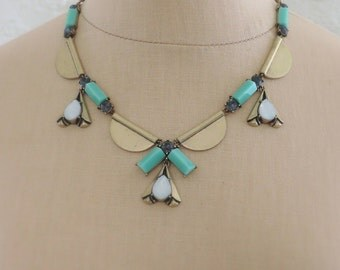 Vintage Inspired Necklace - Statement Necklace - Opal Necklace - Mint Green Necklace - Brass Necklace - Boho Necklace - Bib Necklace