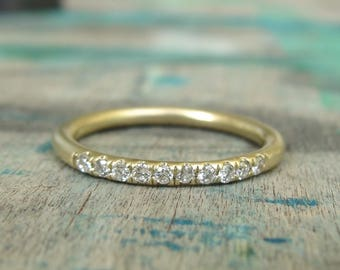 Diamond Eternity Band , Diamond Wedding Band , Thin Diamond Band , Half Eternity Band , Diamonds Ring ,  Pave Diamond Band