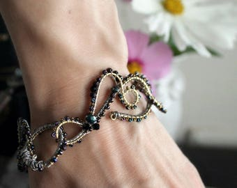 Wire Wrapped Chainlink Layer Bracelet - Embroidery - Black - Gold - Silver - Winter Wedding - Love - February - Valentines Day - Mardi Gras