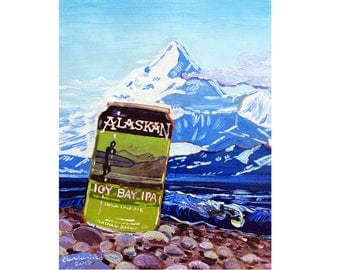 Alaskan Brewing Icy Bay IPA Beer Painting, Alaska Mountains, Art for Man, St. Elias, Surfing & Beer Art, Man Cave Beer Poster, Gift for Son