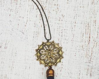 Essential Oil Diffuser Tassel Necklace   Navy Filigree Tassel Necklace   Vegan Suede Jewelry   Aromatherapy Necklace   Tassel Necklace
