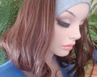 chemo headband wig  dark brown wig chemotherapy alopecia short wig cap wig hat