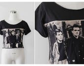 on SALE. The Smiths Morrissey T shirt, Cropped Black Tshirt Music Band 1980's New Wave Shirt