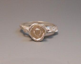 Rose Flower Sterling Silver Ring Floral Roses
