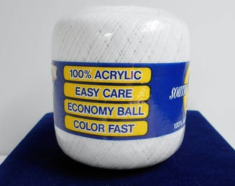White Crochet Thread South Maid Size 10 Full Ball ACRYLIC 450 yards Bedspread Weight