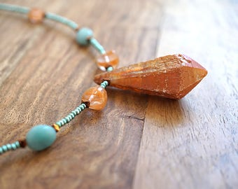 Valentine's gift Tangerine Aura Quartz Point Raw Orange Aura Crystal Necklace Crystal Point Necklace Amazonite Necklace Mint Seafoam Green