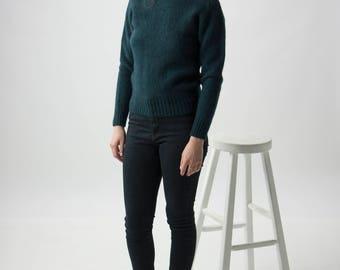 Wool Evergreen Jumper / Green Warm Sweater / Casual Crew Neck Jumper
