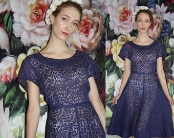 Vintage 1950s Dark Blue Sheer Lace Pinup Bombshell Cupcake Prom Wedding Dress - 50s Dresses - WV0445