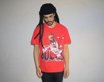 Vintage 1990s Chicago Bulls Tasmanian Devil Looney Tunes NBA Basketball Graphic T-Shirt - 90s Clothing - MV0562