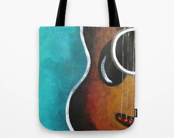 "Smiling Guitar Tote in Teal, 16""x16"" Art Print Tote"