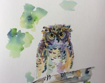 Young Owl Watercolor Print  11x14