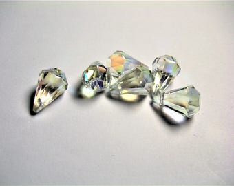 Crystal briolette  - 6 pcs - 11mmx17mm - top sideways drill - Faceted teardrop crystal  beads - clear ab - CBC10