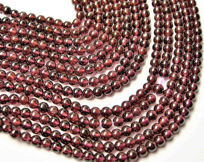 Red Garnet - round  - 3mm ( 3.5mm ) round - 117 beads -  full strand - WHOLESALE DEAL - RFG1214