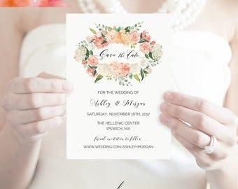 Printable Peach Cream Floral Save The Date Card Template, Editable PDF 5x7 Rustic Wedding STD, vistaprint, DIY Instant Download #02