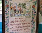 Vintage Cross Stitch Bless This House Poem Framed Art Needlepoint Embroidery Art