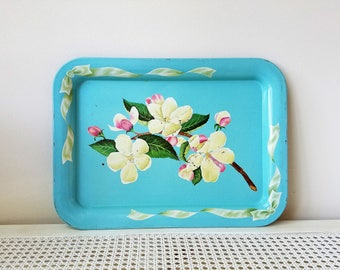 Vintage Turquoise Metal Serving Tray Floral Dogwood Blossoms, Retro Shabby Cottage Decor