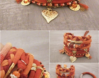 Orange Bohemian Gypsy Bracelet, Boho Bracelet, Multi Layer Bracelet Bohemian Jewelry, Heart Bracelet, Summer Boho Jewelry Fire Bracelet