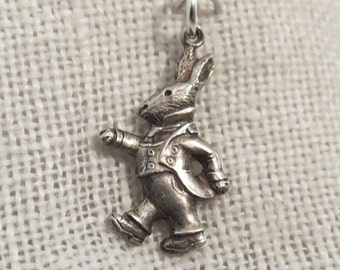 Double Sided Bunny Rabbit Wearing Clothes Sterling Silver Charm