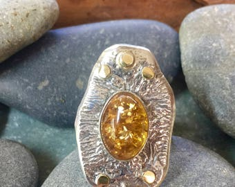 Reticulated Sterling Silver ring with Yellow Amber and 18k yellow gold