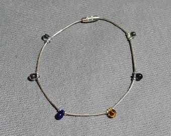 Liquid Silver & Gemstone Bead Bracelet (a)