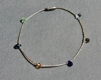 Liquid Silver & Gemstone Bead Bracelet (b)